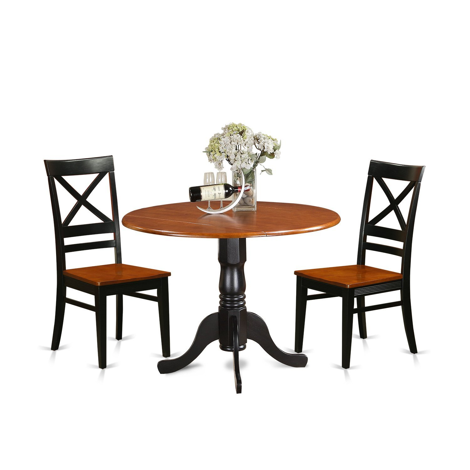 East West Furniture DLQU3-BCH-W 3 Piece Dining Table and 2 Wooden Kitchen Chairs Set Dublin