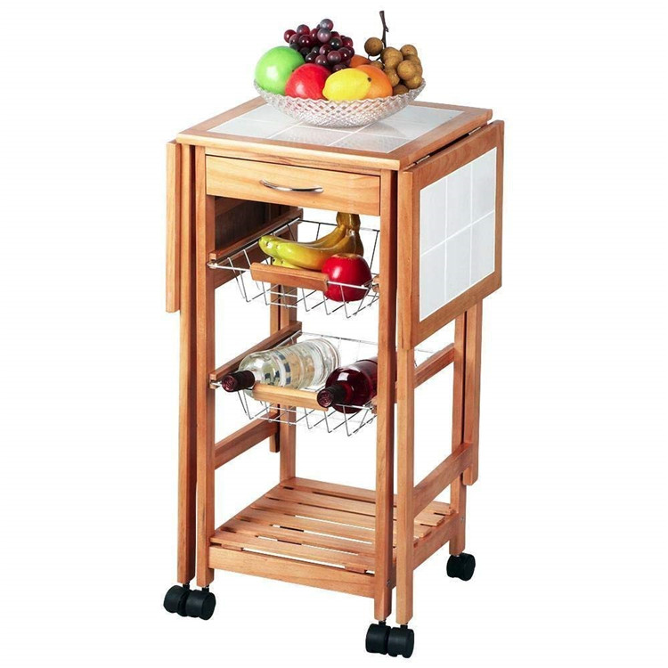 3 Tier extendable kitchen trolley baskets design with drawer 5