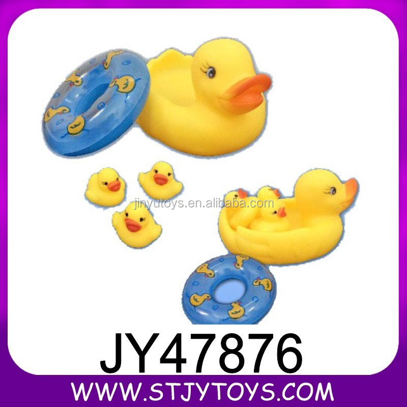 Lovely bathing toy big yellow rubber duck with 3pcs small ducks&swimming lap