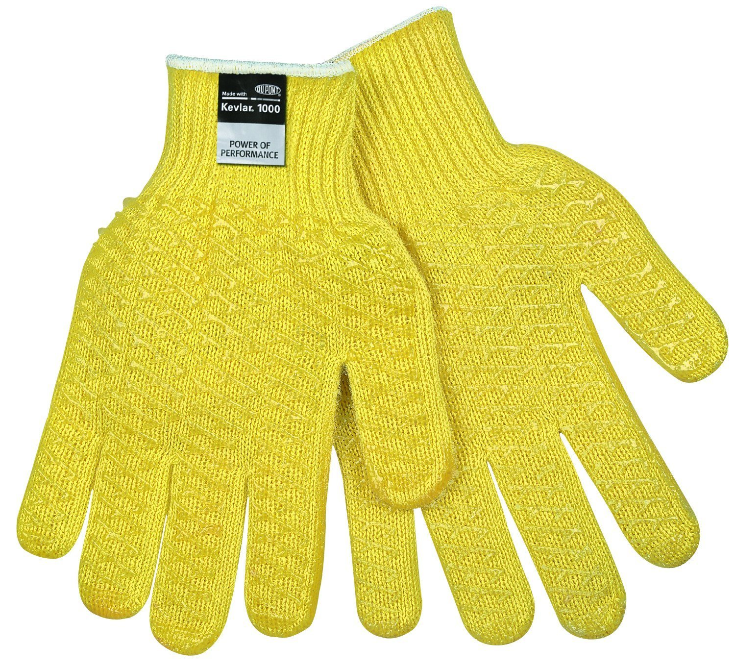 MCR Safety 9370HL Kevlar Regular Weight 7 Gauge Gloves with PVC Honeycomb Pattern and Dots On 2-Side, Yellow, Large, 1-Pair