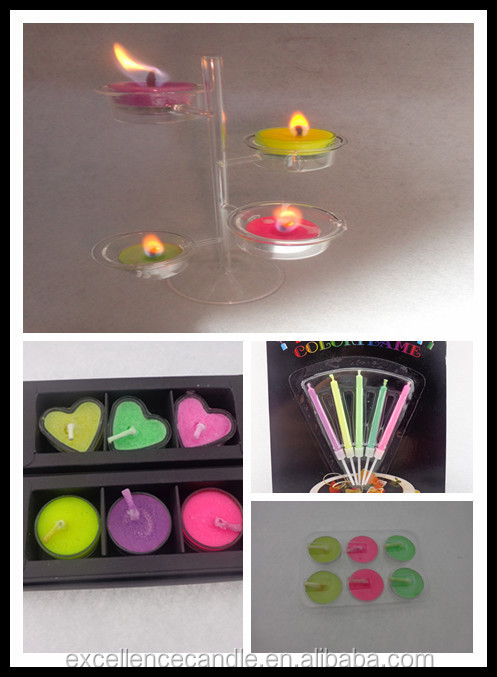 Color flame cake candle with good quality