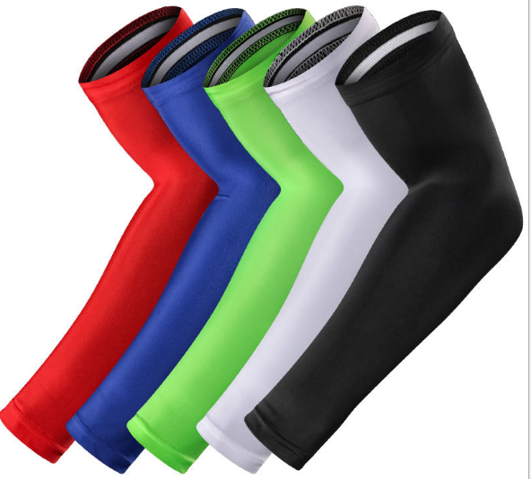 Wholesale sports elastic elbow support brace warmers non-slip exercise friendly cycling arm compression sleeve, Black/white/red/blue/purple;or any customized color