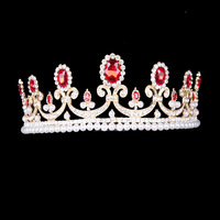Baroque gold Crystal Blue Red Hair accessories Pearl Girl Princess green tiara crown