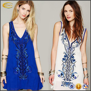 Ecoach high quality sleeveless hand embroidery designs for dress womens embroidery dress