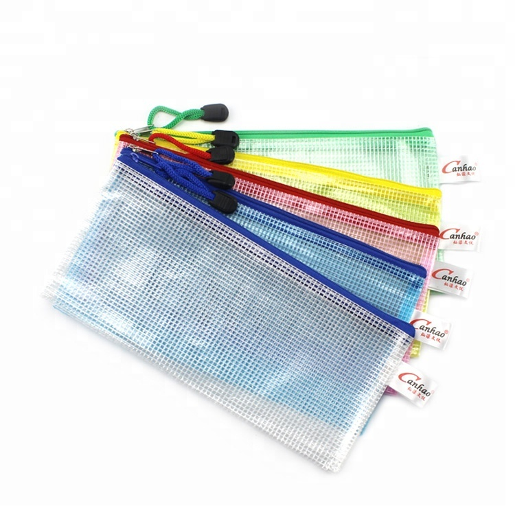 Factory custom print small mesh promotion gift PVC pencil bag