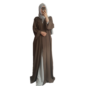 Top quality Soft Crepe with Pearl Muslim Clothingfront open abaya for Women
