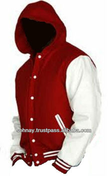 Hooded Varsity Letterman Jacket Hooded Baseball Jacket With Custom ...