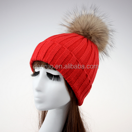 Europe and the United States section of the winter models warm knitted wool cap male and female couples large raccoon fur fur ba