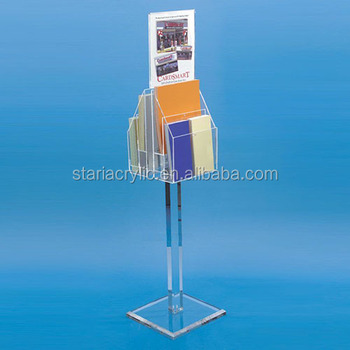 floor standing acrylic brochure literature display holder poster holder 8.5x11""