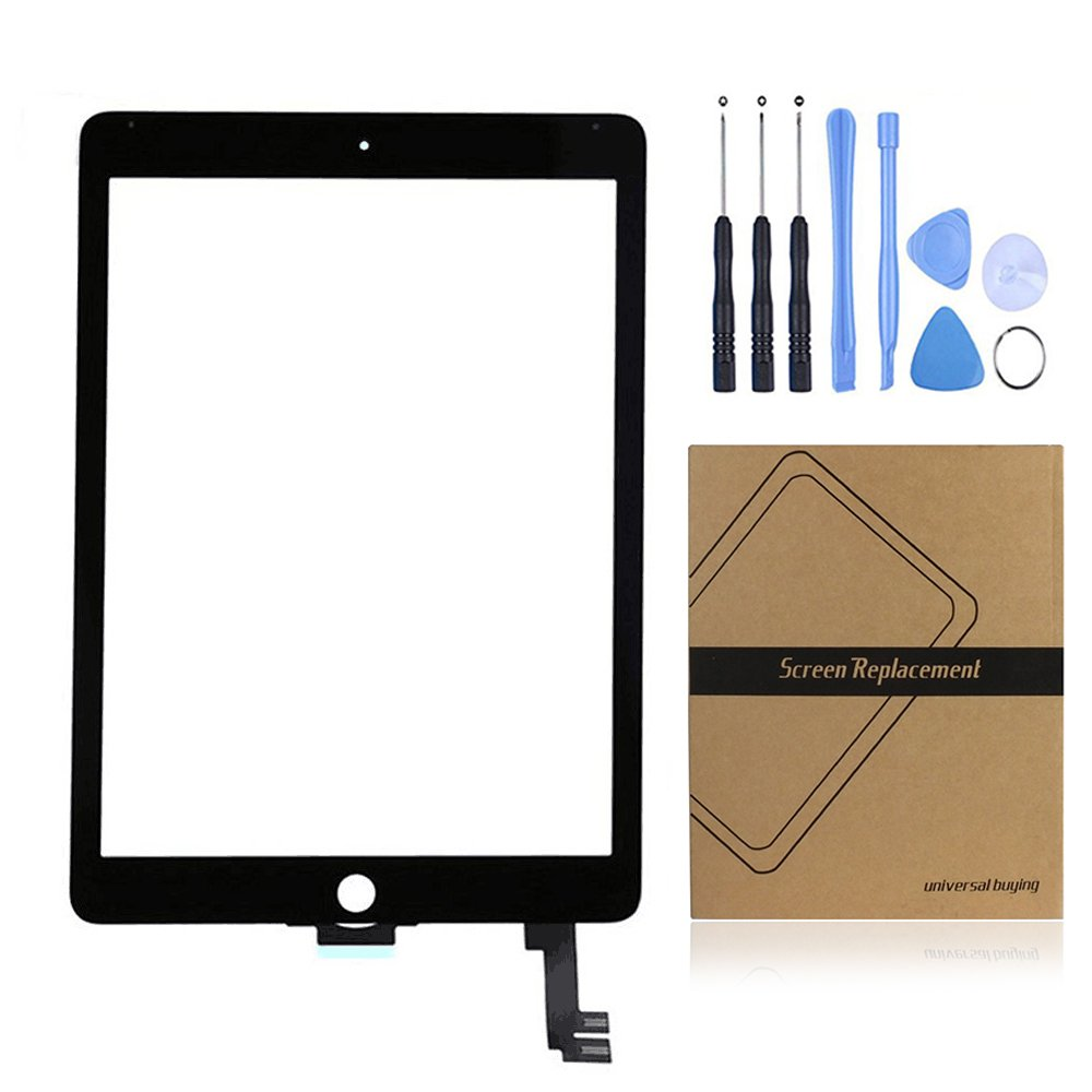 iPad 6 Touch Panel, Universal Buying Touch Screen Digitizer Complete Assembly Replacement Parts with Flex Cable for iPad 6 / iPad Air 2 - Black
