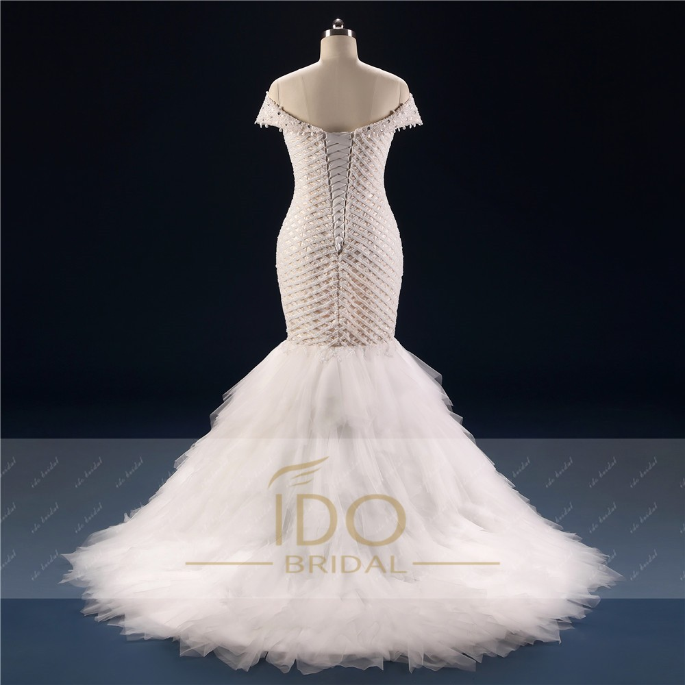 100% Real Photo Africa Luxury Off the Shoulder 2017 Mermaid Wedding Dresses with Crystal Tulle Bridal Gown Vestido de Festa RW1 6