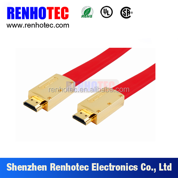 Gold plated hdmi cable avi to hdmi cable flat HD MI cable with Metal Shell