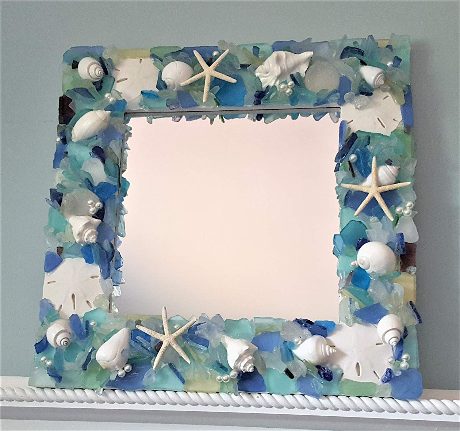 Beach Decor Sea Glass Wall Mirror, Nautical Decor Beach Glass Mirror, Coastal Decor Seashell Mirror, OCEAN MIX, 20""
