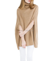 15JW0224 women wholesale turtleneck poncho style sweater