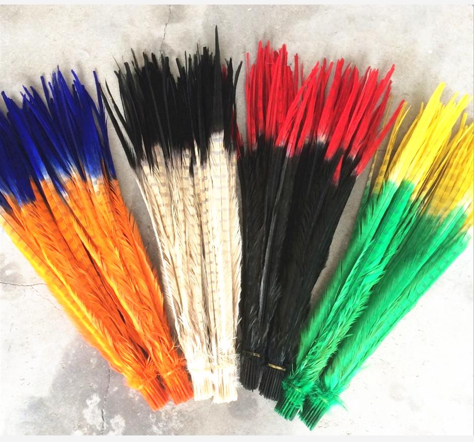 Plumes de queue de faisan, lot de 100, 16-18 pouces, 40-45 cm, couleur deux tons, col d'anneau teint, plumes pour la vente