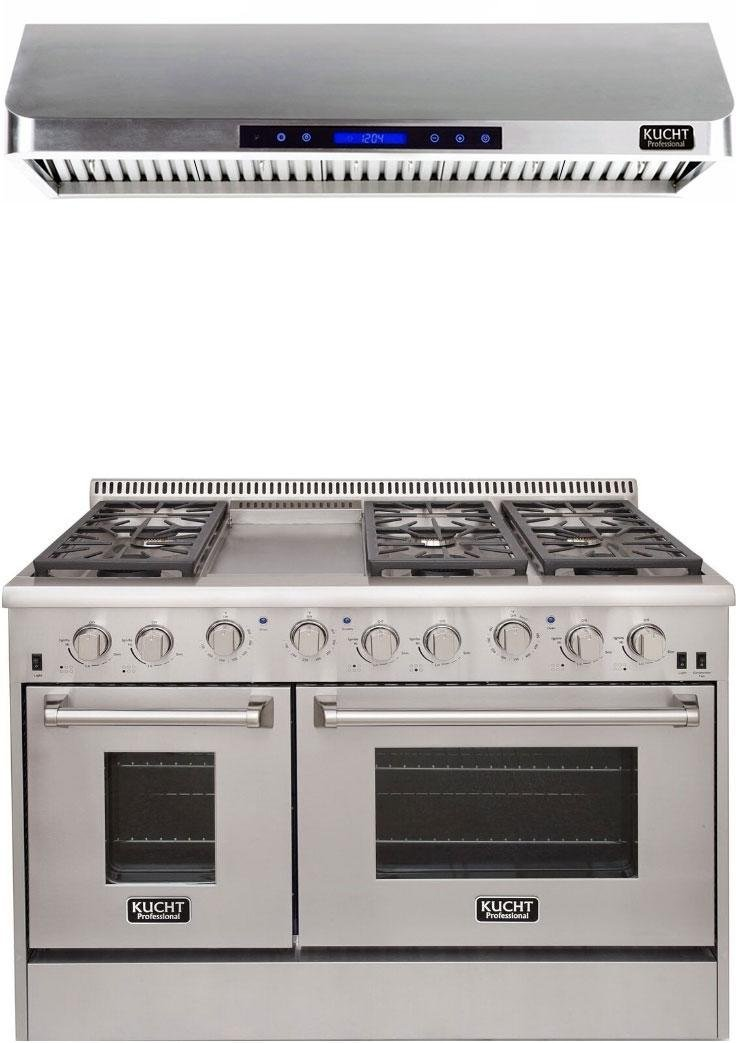 "Kucht Professional Series 2-Piece Stainless Steel Kitchen Package with KRD486FLP 48"" Liquid Propane Gas Dual Fuel Range and KRH4801U 48"" Digital Control Hood"