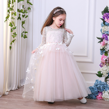 Little Brides Bridesmaid Wedding Gown Lace Flower Dress With Erfly Long Evening Formal Maxi Full Length Ball