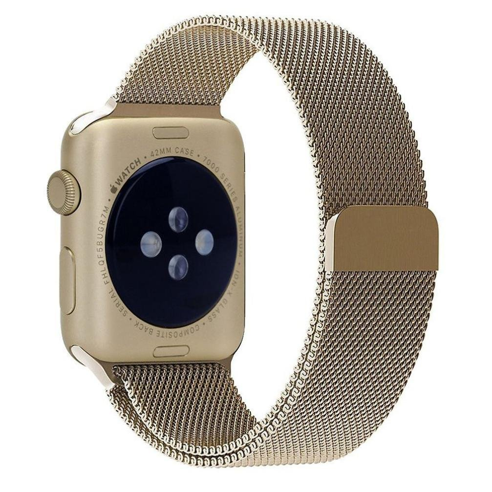 For Apple Watch Band , HP95(TM) for Apple Watch 42mm Milanese Magnetic Loop Stainless Steel Watch Band Strap Replacement Watch Band (42mm, Gold )