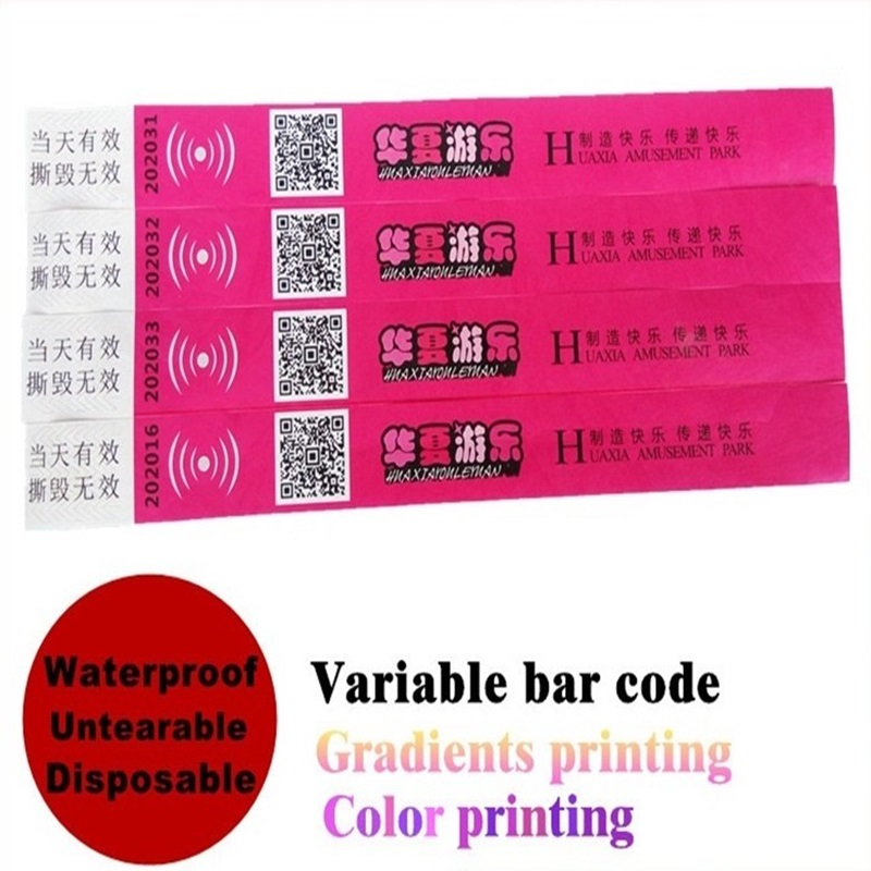 "No MOQ Variable Barcode Complicate Pattern Free Custom Samples 1"" Injekt Printing Cheap One Time Use Tyvek Wristbands For Events"