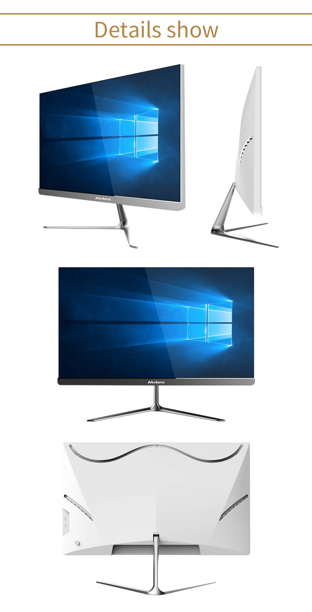 Aio Desktop computer 23.8 Inch Bezel-Less High-Definition  All In One PC OEM factory