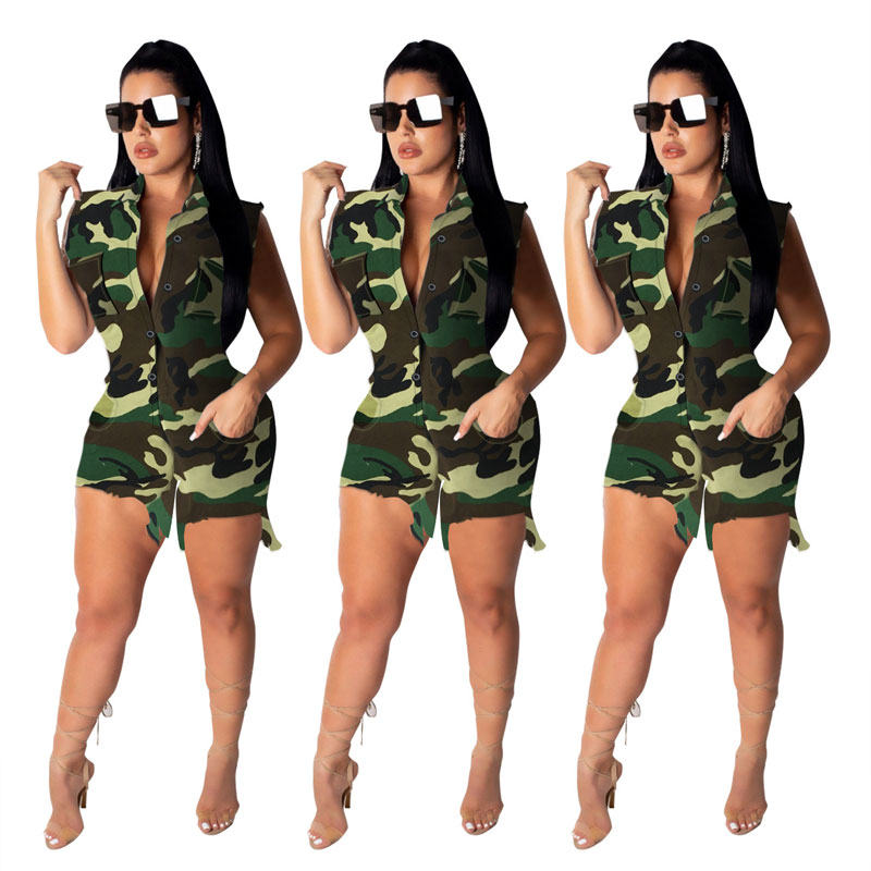 90612-MX1 Camouflage printed styles short rompers womens