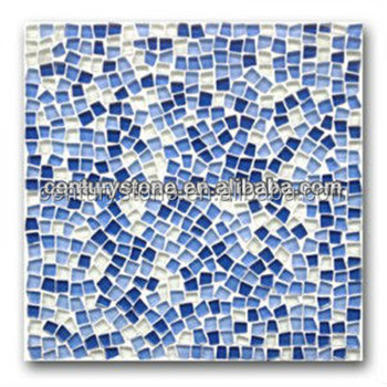 Blue And White Gl Mosaic Tile Andom