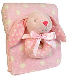 Stephan Baby Super Soft Coral Fleece Polka Dot Crib Blanket and Plush Ring Rattle Gift Set, Pink Bunny by Stephan Baby