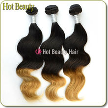 Machine Weft Original Indian Human Hair Two Tone Colored Brazilian Hair Weave
