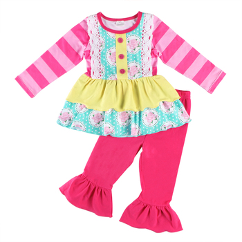 New product sweet flower ruffle long sleeve fender flares children clothing set,baby clothes baby girl clothes