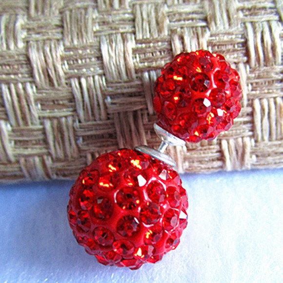 Wholesale Fashion Red Crystal Disco Ball Stud Earring Shamballa Earring