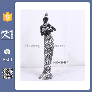 china wholesale polyresin black african woman statue for home decoration
