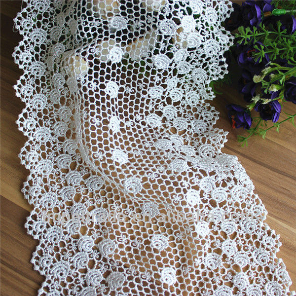 fashion polyester water soluble wide lace cotton fabric for fashion lady dress fabric wholesale guangdong