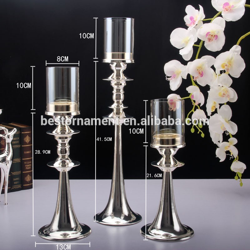 Silver Plated Fashion Metal Candle Holder With Gl Cover For Home Dining Table Decoration Votive Stand Tall
