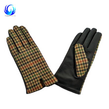 Fashion sheep leather and black and fabric women touchscreen leather gloves