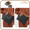 popular solid color gold ring smooth leather flat women evening clutch bag with wristlet and shoulder strap