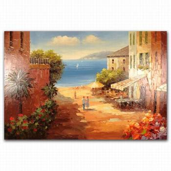 Handmade 3d Indian Rajasthani Traditional Seaside Village Oil Painting On Canvas