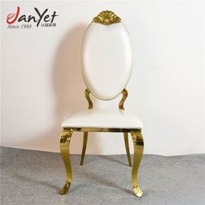 Foshan Factory Royal Stainless Steel Golden Oval Back Dining Chair