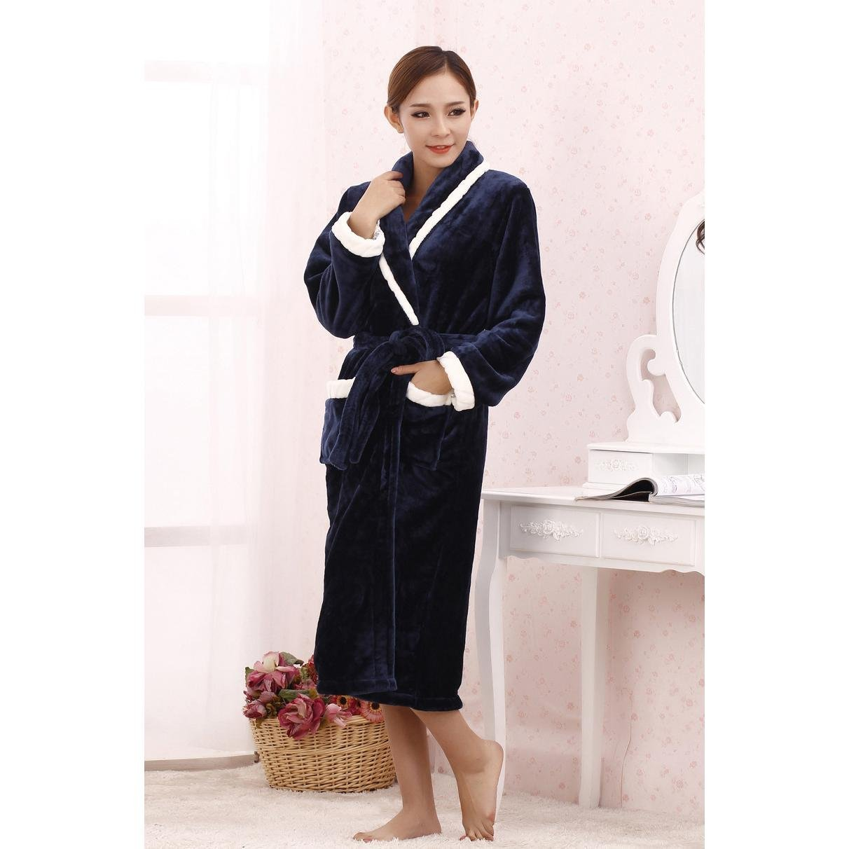eb73b8ccc3 Get Quotations · Pajamas Plush Thick Warm Men And Women Home Gown Robes  Pajamas Cotton Bathrobe Shawl Dark blue