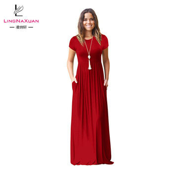 Multi Color Hot Sale Solid Maxi Short Sleeve Dresses with Pocket for Women Lady