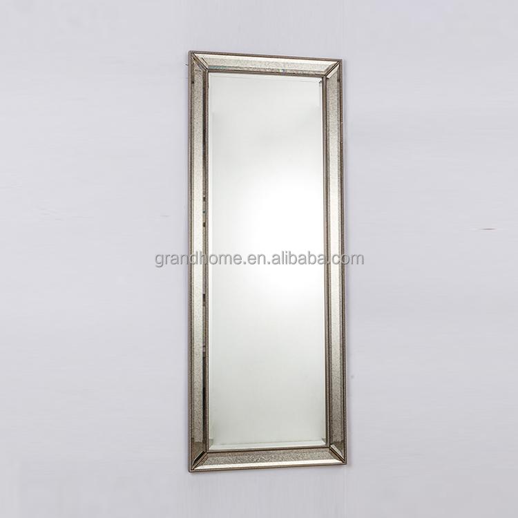 Antiek zilver stijlvolle volledige lengte barokke stijl muur decoratieve metalen framed spiegel - Decoratieve spiegel plakken ...