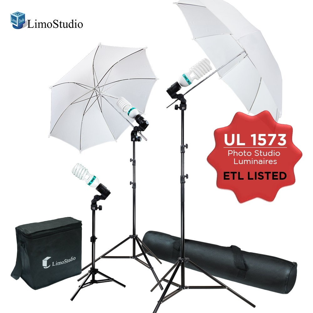LimoStudio 600W 5500K Photo Video Studio Continuous Lighting Bundle Kit UL1573 ETL Listed Photo Bulb Socket, White Umbrella Reflector, Light Stand Tripod, Stand Carry Bag, Photography Studio, AGG2100