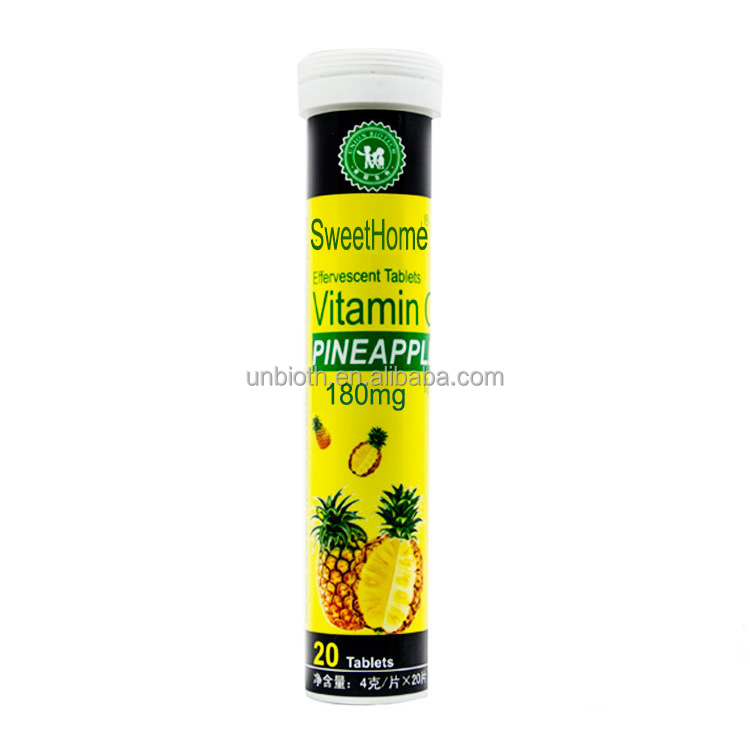 Health Immune Support OEM Pineapple VC 180mg Vitamin C effervescent tablets private label