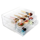 Finger holes plastic clear lucite beauty best makeup organizer, cosmetic holder with 3 drawers, acrylic makeup holder box
