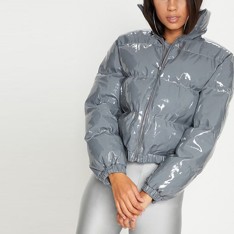 e0cfd7c73 High Shine Dark Grey Vinyl Puffer Coat Stand Zipper Women Down Puff ...