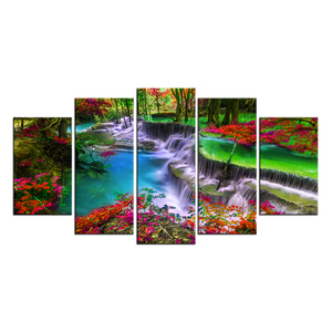 5 Pieces Forest Canvas Wall Art Waterfall River Picture Prints Vivid Nature Landscape Painting for Home Decor