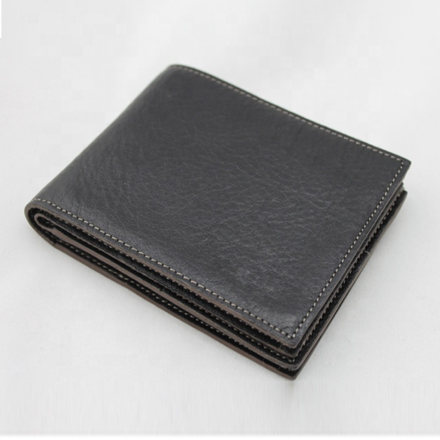 Practical genuine leather short wallet with many pockets for men
