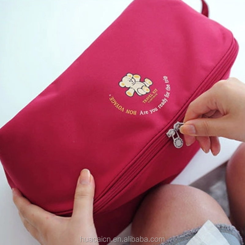 Factory direct polyester mini travel bag underwear bag for bra storage portable zipper bag