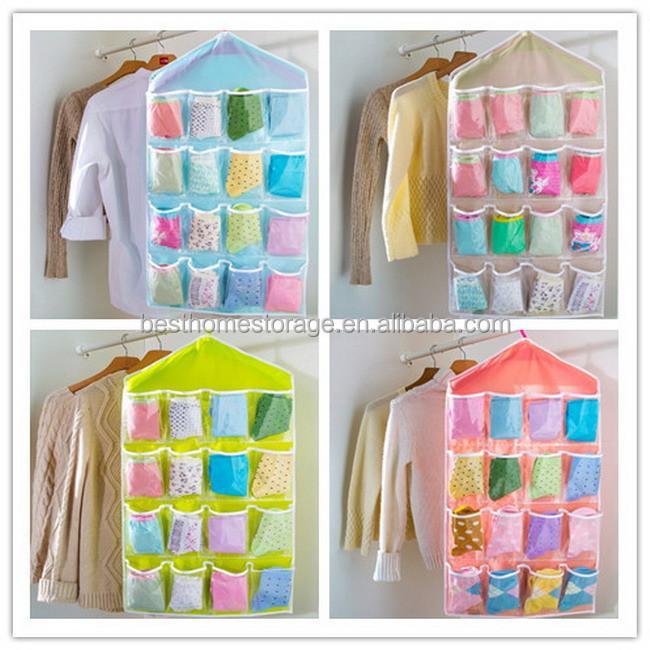16 bolsillos bolsillos transparentes pvc ropa interior calcetines organizador del armario buy - Zapatero de tela para colgar ...