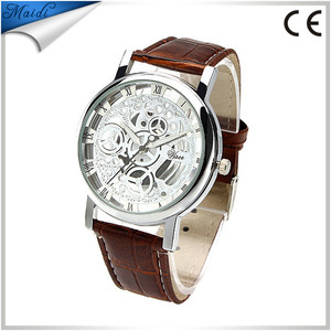 2017 China Alibaba fashion dress men watches skeleton stainless steel quartz wrist watches luxury MW-12