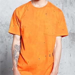 Cheap promotional fashion bangladesh clothing custom blank plain orange hole t shirt